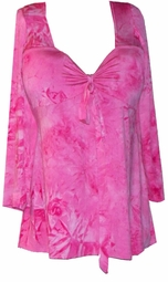 SOLD OUT! CLEARANCE! Pink Tiedye Ultra Soft Slinky Plus Size Babydoll Shirt XL