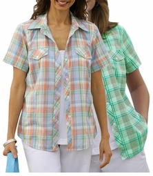 SOLD OUT!!!!CLEARANCE! Plus-Sized Blue with Orange or Green with Pink Plaid Button Down Shirt 6x