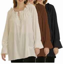 SOLD OUT! CLEARANCE! Pretty Black Brown or Ivory Soft Smooth Stretch Velvet Peasant Top 3x