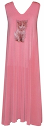 SOLD OUT! CLEARANCE! Pretty Peach Kitty Slinky Plus Size Lounge Tank Dress 1x