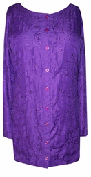 SOLD OUT! CLEARANCE! Pretty Plum Purple with Design Embroidery Plus Size Button Down Top One Size 1x-4x