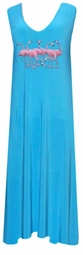 SOLD OUT! CLEARANCE! Pretty Turquoise & Pink Flamingos Slinky Plus Size Lounge Tank Dress 1x