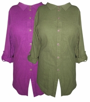 SOLD OUT!!!!CLEARANCE! Purple Button Down Roll-Up Sleeves Plus Size Top 2x