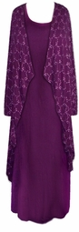 SOLD OUT! CLEARANCE! Purple Embroidered Plus Size 2pc Dress & Jacket Set 4x