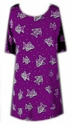 SOLD OUT! CLEARANCE! Purple Fish Plus Size & Supersize T-Shirts 0x/1x