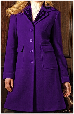 Sold Out Clearance Purple Wool Plus Size Embroidery Trim