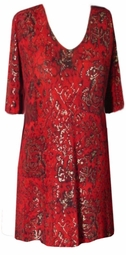 SOLD OUT! CLEARANCE! Red & Black & Gold Snakeskin Slinky Plus Size Extra Long Shirt 4x/5x