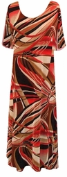SOLD OUT! CLEARANCE! Red Black & Tan Abstract Slinky Plus Size Slinky Dress 2x/3x