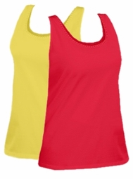 SOLD OUT! CLEARANCE! Red or Yellow Embellished Mesh Trim Plus Size Tank Top 3x/4x - 26/28