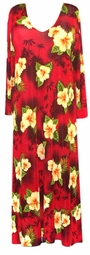 SOLD OUT! CLEARANCE! Red Tropical Plus Size Supersize Slinky Dress 4x/5x