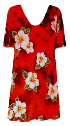 SOLD OUT! CLEARANCE! Red & Yellow Tropical Floral Plus Size Slinky Shirt 0x 1x