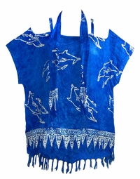 SOLD OUT! CLEARANCE! Royal Blue Dolphins Glittery Tunic Shirt w/Scarf Fits 4x to 6x