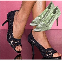 SOLD OUT! CLEARANCE! Sage Green Open Toe Crochet Pump Shoes 9 10 11