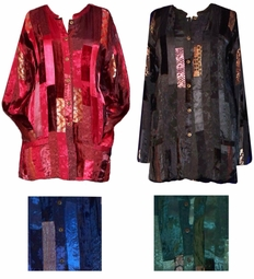 SOLD OUT! CLEARANCE! Satiny Patchwork Plus Size & Supersize Jacket/ShirtsGreen 4x