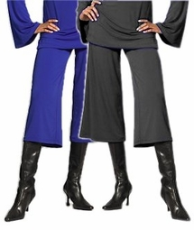 SOLD OUT! CLEARANCE! Slinky Stylish Royal Blue or Dark Gray Wide Leg Cropped Knit Control Plus-Size Pants 3x