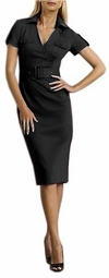 SOLD OUT! CLEARANCE! Stylish Black Belted Surplice Stretch Safari Plus-Size Dress 24w/3x