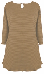 SOLD OUT! CLEARANCE! Tan Ribbed Half Sleeve Plus Size Shirts 1x