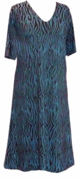 SOLD OUT! CLEARANCE! Teal Tiger Print Slinky Extra Long Straight Plus Size Shirt 2x/3x