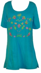 SOLD OUT! CLEARANCE! Turquoise Embroidered Plus Size T-Shirts 1x