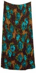 SOLD OUT! CLEARANCE! Turquoise Roses Leopard Slinky Plus Size Skirt 4x/5x
