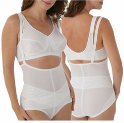 SOLD OUT! CLEARANCE! White Crown-ette Tummy Control Total Plus-Size Shaper 48