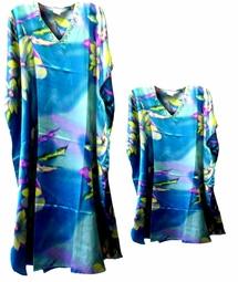 Sold Out!!!! Colorful Aqua Tropics Floral Print Poly/Satin Plus Size & Supersize Caftan Dress or Shirt 1x to 6x
