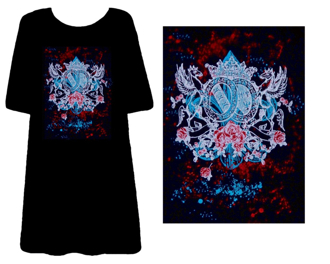 Sold Out Colorful Gothic Print Plus Size Supersize T Shirts