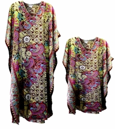 SOLD OUT! Colorful Paisley Print Poly/Satin Plus Size & Supersize Caftan Dress or Shirt 1x to 6x