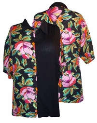 SOLD OUT! Colorful Summer Floral Crinkle Button-Down Collared Shirt 1x