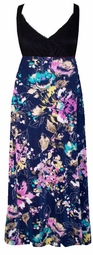 SOLD OUT! Customizable Fabulous Black & Purple Abstract Plus Size Slinky Black Empire Waist Dress 0x to 8x