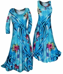 SOLD OUT!!!!!!!!!!! Customizable! New! Blue & Pink Tropical Slinky Plus Size & Supersize Standard or Cascading A-Line or Princess Cut Dresses & Shirts, Jackets, Pants, Palazzo's or Skirts Lg to 9x