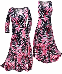 SOLD OUT!!!!!!!!!! Customizable! New! Fucshia & Black Abstract Slinky Print Plus Size & Supersize Standard or Cascading A-Line or Princess Cut Dresses & Shirts, Jackets, Pants, Palazzo's or Skirts Lg to 9x