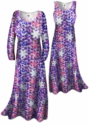 SOLD OUT!!!!!!!!!!!!!Customizable! New! Lightweight Groovy Purple & Green Floral Print Slinky Plus Size & Supersize Customizable A-Line or Princess Cut Dresses & Shirts, Jackets, Pants, Palazzo's or Skirts Lg XL 0x 1x 2x 3x 4x 5x 6x 7x 8x 9x