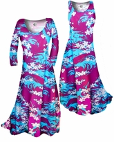 SOLD OUT!!!!!!!!!!!!!!! Customizable! New! Magenta & Blue Abstract Print Slinky Plus Size & Supersize Standard or Cascading A-Line or Princess Cut Dresses & Shirts, Jackets, Pants, Palazzo's or Skirts Lg to 9x