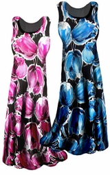 SOLD OUT!!!!!!!!!!!!Customizable! New! Pink or Blue Tulips Slinky Plus Size & Supersize A-line or Princess Cut Tank Dresses & Tops! 0x 1x 2x 3x 4x 5x 6x 7x 8x