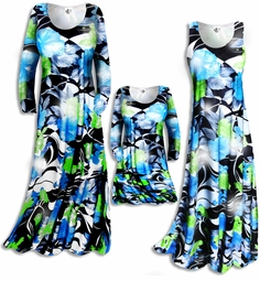 SOLD OUT! Customizable! New! Shimmering Tropical Black & Blue Floral Slinky Plus Size & Supersize Customizable A-Line or Princess Cut Dresses & Shirts, Jackets, Pants, Palazzo's or Skirts Lg XL 0x 1x 2x 3x 4x 5x 6x 7x 8x 9x