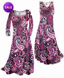 SOLD OUT! SALE! Raspberry Paisley Teardrop Slinky Print Plus Size & Supersize A-Line Dresses 5x