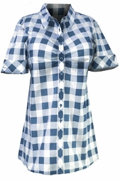 SOLD OUT!  Cute 1950's Style Light Blue Checkered Buttondown Shirt 2x