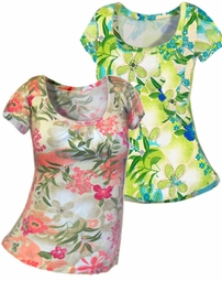 SOLD OUT!!!! Cute Pink or Green Short Sleeve Round Floral Plus Size Top