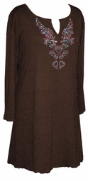 SOLD OUT!!!!!!!!!!!!!!!Dark Brown Rhinestone Plus Size & Supersize Extra Long Shirts   7x