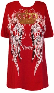 SOLD OUT!!!! Dereon Beyonce Red Plus Size Shirt With White And Gold Graphic Print 1XL