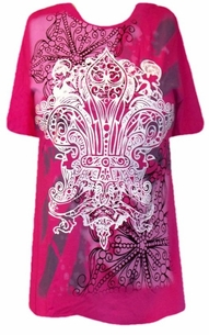 SOLD OUT!!! Dereon Beyonce White and Gray Print Hot Pink Plus Size Shirt Put a Ring on It T-Shirt  1XL
