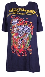 SOLD OUT !!! Ed Hardy Navy Flaming Tiger Plus Size T-Shirts by Christian Audigier