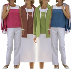 SOLD OUT!!!FINAL SALE! 4 PIECE SET! Casual Plus-Sized Fuschia Dark Taupe Olive or Navy Two Tone Wardrober 30w 32w 32wp 34wp