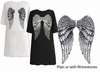 FINAL CLEARANCE SALE! Back Angel Wings Plus Size Turquoise T-Shirts XL