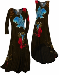 SOLD OUT!!!!!!!!! FINAL SALE!!!! Black Blue & Red Oriental Coi Fish Print Yummy Slinky  A-Line Dresses 4X