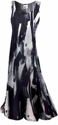 SOLD OUT!!!!!!!!! FINAL SALE! Black & White Marbled Jersey Print Plus Size & Supersize Princess Cut Dresses 4x
