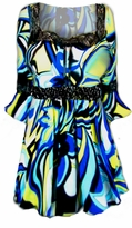 SOLD OUT!!!!!!!!!! FINAL SALE Blue & Yellow Lace Trim Bell Sleeve Slinky Plus Size Shirts 4x