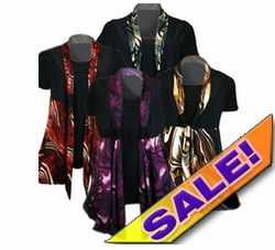 SOLD OUT! Just Reduced! Cute Slinky Mock 2pc Tie Tops! Black & Gray! Plus Size Supersize