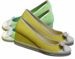 SOLD OUT!!!!!!!!!! FINAL SALE! Cute! Yellow & Silver or Green & Silver Tenni - Wedgies! Sizes  9 -